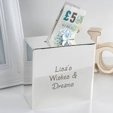 personalised silver square money box any message