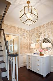 whimsical lighting fixtures. Lighting Fixtures For Foyers Luxury A Whimsical Gold And Cream Wallpaper Gives This Once Dark Foyer