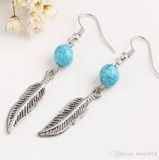 2019 new blue turquoise beads leaf earrings women fish ear hook dangle chandelier earrings fashion jewelry from 2016 0 46 dhgate com