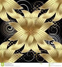 Gold 3d Flowers Vector Seamless Pattern ...