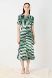 Buy Finery London Green Emina <b>Printed Abstract</b> Linear Dress from ...