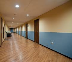 office hallway. Photo Of Commercial Office Hallway With Direct-Applied HytexRib Fabric As Wainscoting (Large) R