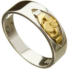 Irish Wedding Ring Mens Claddagh Insert 10k White Gold Band At