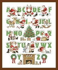 Christmas Alphabet Cross Stitch Pattern Counted Letters