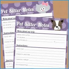Pet Sitting Templates Free Good Items Similar To Pet Sitter Notes