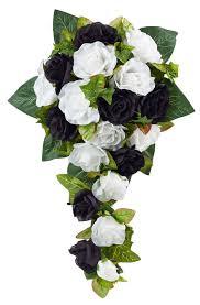 black and white silk rose cascade bridal wedding bouquet Wedding Bouquets Black And White black and white silk rose cascade bridal wedding bouquet black and white silk wedding bouquets