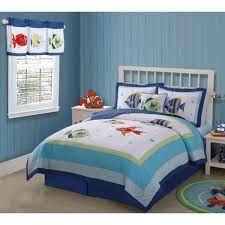 bedroom white blue bedding sets with fish paint and blue bed having white wooden headboard