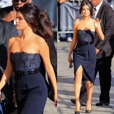 dress lace dress selena gomez prom dress dark blue navy belt flowers