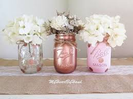 Ball Jar Decorations Delectable Pink And Rose Gold Mason Jar Centerpieces Baby Shower Mason Jars