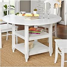simple living cottage wood white round dining table 42 inch round pedestal table