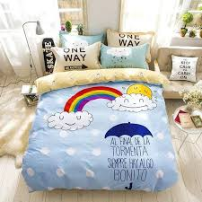 moon and stars bedding moon stars rainbow clouds print cartoon deer giraffe bedding set cotton