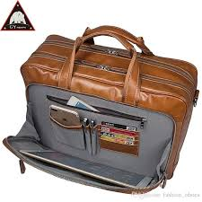 anaph portfolio full grain leather business briefcase for men 17 inch laptop bags large capacity double male bag in brown 630510 leather laptop bags for