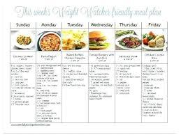 Weight Loss Menu Planner Template Weight Watchers Meal Planner Template Thepostcode Co