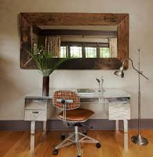 mirrored office furniture. Mirrored Desk Home Office Eclectic With Wall Mounted Mirror Wastebaskets Furniture A