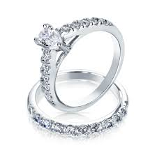 Pear Shaped Cz Sterling Silver Engagement Wedding Ring Set