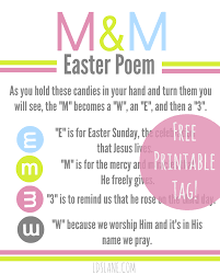 Free Printable Easter M M Poem Tags U Create