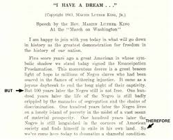 "yet another abt speech mlk s ""i have a dream"" science needs  he could have gone off in ten different directions right from the start but he didn t after an opening greeting he delivered three sentences"