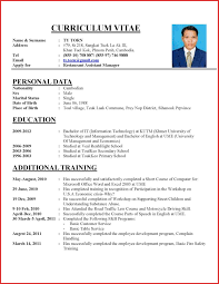 Best Of Application Letter Curriculum Vitae Type Of Resume