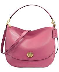COACH Turnlock Medium Hobo, Light Gold Rouge