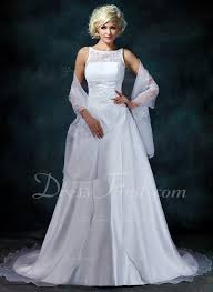 a line princess scoop neck chapel train satin organza wedding
