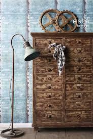 Behang Metalen Platen Turquoise En Roest Bruin Estahome