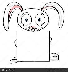 かわいいウサギのイラストやバナー漫画マスコットと白背景を描画