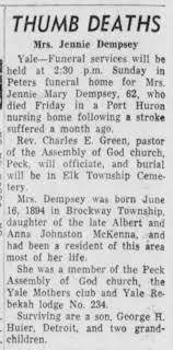 Mrs Jennie. Mckenna Dempsey Port Huron Mi - Newspapers.com