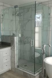 corner frameless shower door knee wall