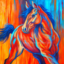 colorful abstract horse painting sunset frolic by theresa paden