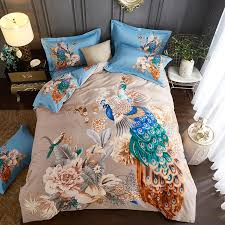 oriental pastel peacock print bedding set queen king size brushed cotton duvet cover bedsheets home textiles for winter bedding duvet cover bedspreads and