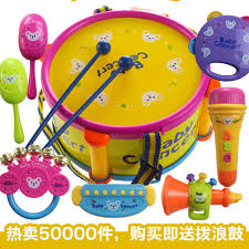 Baby toy rattles, newborn gift box 0-1 year old baby educational toys infant hand belt bass drum 0 1