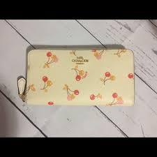 Coach cherry wallet - leather accordion zip wallet