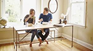 height of dining room table. couple at dining room table height of