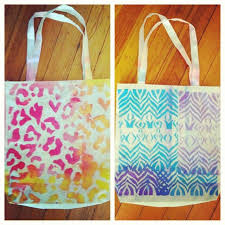 diy plain canvas tote fabric spray paint stencils possibilities are endless