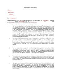 Free Employment Contract Templates Probationary Employment Contract Sample