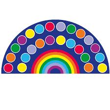 rainbow semi circle 24 placement carpet 4x2m