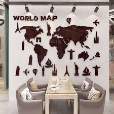 office decorative. Wonderful Office New World Map 3D Stereo Acrylic Wall Stickers Living Room Office Decorative  Sofa Background Art To