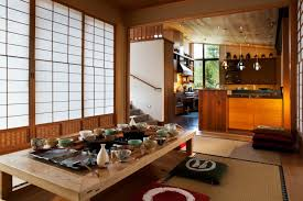 floor seating dining table mat mattress wall cabinet shelves hanging lamps  stairs japanese style dining room