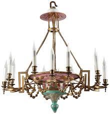 napoleon iii opaline and gilt bronze chandelier with 12 lights for