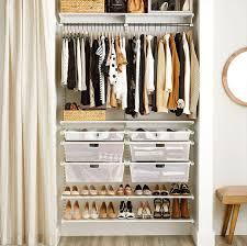 white elfa classic closet with mesh drawers