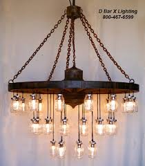 60-inch diameter wagon wheel mason jar chandelier light fixture with 35  lights