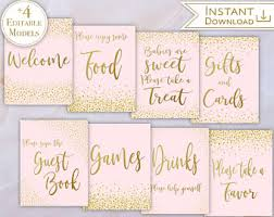 Baby Shower Signs Kit Set Editable Baby PDF Template Signs Pink Blush Gold  Confetti Posters Package