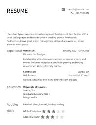 Sample Resume For Web Designer Awesome Free Résumé Builder Resume Templates To Edit Download