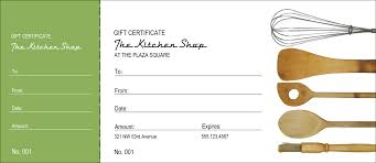 Store Gift Certificate Template Kitchen Store Gift Certificate