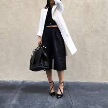 pants leather culottes culottes black culottes leather pants black pants crop tops black crop top