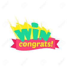 Win Congratulations Sticker Design With Green Letters And Red