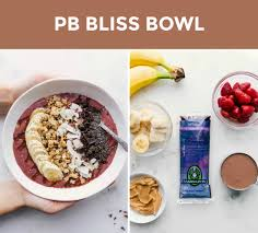 additional acai bowl recipes two side by side photos on the left is an overhead shot of a peanut