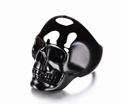 black obsidian crystal skull ring