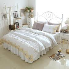 white princess bedding sets gold lace crown embroidered bedclothes bed skirt 100 cotton girls quilt cover set king queen plus bedding comforters comforters