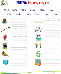These phonics activity sheets aim to build a child's knowledge of. Phonics Review A E I E O E U E Worksheet